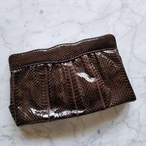 Vintage Brown Snakeskin Clutch